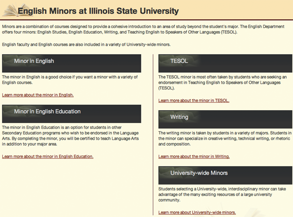 The English Minors at Illinois State University web page. The page is organized visually into sections with major headings set against black backgrounds.