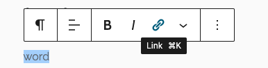 screenshot of wordpress editing toolbar with link icon highlighted